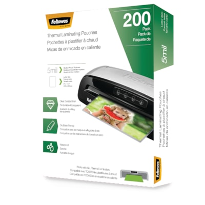 Fellowes Letter-Size Thermal Laminating Pouches, 5 mil, Pack of 200 uches - Letter  5 mil  200 pac k