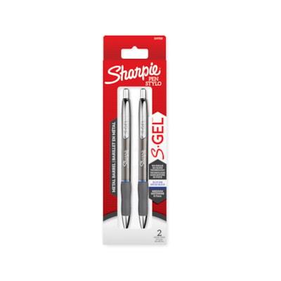 Sharpie S-Gel Pens with Gunmetal Barrel, Blue, Medium 0.7 mm, 2/PK