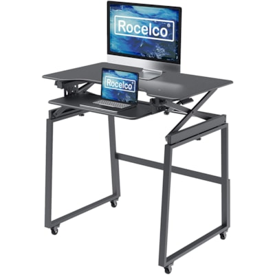 """Rocelco Mobile Sit-to-Stand Desk Riser Legs, Black, 37"""" x 28"""" x 30""""  DADR-40 and DADR-46"""