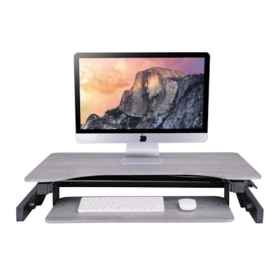 "Rocelco Adjustable Desk Riser, Grey, 32"" x 20 3/5"" x 4 3/4"" to 16 3/4"" le Desk Riser"