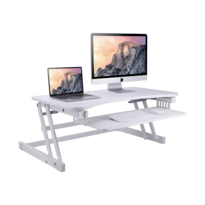 """Rocelco 37 1/2"""" Deluxe Height Adjustable Standing Desk Riser, White table Desk Riser"""