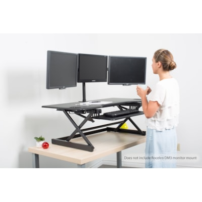 "Rocelco 46"" Large Height Adjustable Standing Desk Riser, Black table Desk Riser tigue mat"