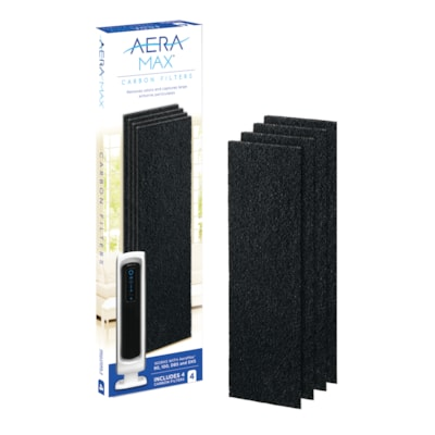 Fellowes AreaMax 90/100/DX5 Carbon Filters, Black, 4/PK REMOVES ODOR & LARGE PARTICLES FOR USE WITH AERAMAX 90