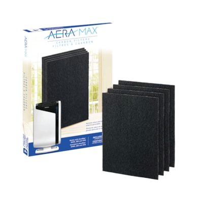 Fellowes AeraMax 290/300/DX95 Carbon Filter, Black, Pack of 4 REMOVES ODOR & LARGE PARTICLES FOR USE WITH AERAMAX 290