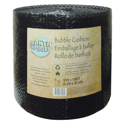 """Earth Hugger 3/16"""" Packaging Bubble Cushion Wrap, Black, 12"""" x 100' 3/16"""" BUBBLE 30% POST RECYCLED CONTENT"""