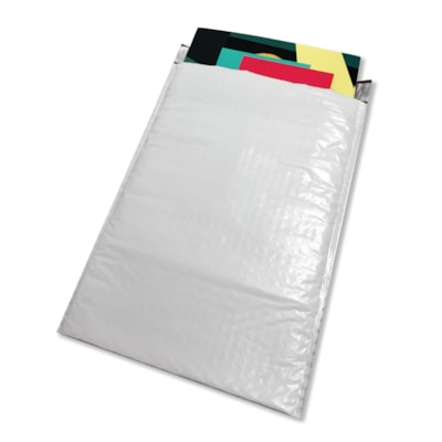 """PolyAir Xpak Poly Bubble Mailers, White, #4, 9 1/4"""" x 13 1/2"""", Box of 100 9.5"""" X 14.5"""""""