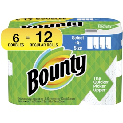 Bounty 2-Ply Select-A-Size Paper Towels 6=12, White, Roll of 110 Sheets, Case of 6
