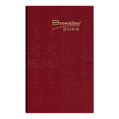 """Brownline 12-Month Daily Pocket Planner, Assorted Colours, 4 3/4"""" x 3"""", January - December, English ENGLISH ASST. CHRCL/BLUE/RED/ BROWNY 50% PCW FSC CERTIFIED"""
