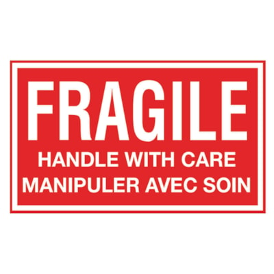 """Edge Self-Adhesive """"FRAGILE - Handle with Care"""" Shipping Label, Bilingual, Red/White, 3"""" x 5"""", Roll of 500 Labels 3""""X5"""" WHITE ON RED BI-LINGUAL 500 LABELS PER ROLL"""