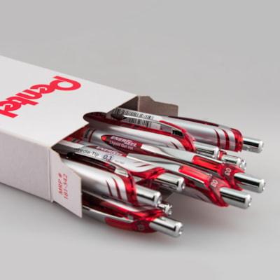 Pentel EnerGel Rétractable Stylo à Encre Gel, rouge, ultra-fin 0,3 mm, boite de 12 PENTEL  RETRACTABLE  12/BOX