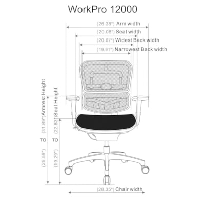 WorkPro® 12000 Mesh Series Ergonomic Mid-Back Manager's Chair, Black/Chrome WORKPRO MULTIFUNCTION BLACK MESH SEAT AND BACK