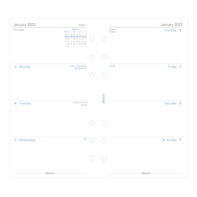 """Filofax 12-Month Weekly Personal-Size Planner Refill, 3 3/4"""" x 6 3/4"""", January - December, English WEEK TO VIEW  UNRULED PERSONAL SIZE  ENGLISH"""