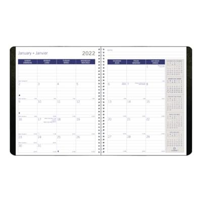 "Blueline DuraGlobe Sugar Cane 14-Month Monthly Planner, Black, 8 7/8"" x 7 1/8"", December - January, Bilingual SUGARCANE BASE  8 7/8 X 7 1/8"" SOFT CORINTH COVER  BLK  BIL."