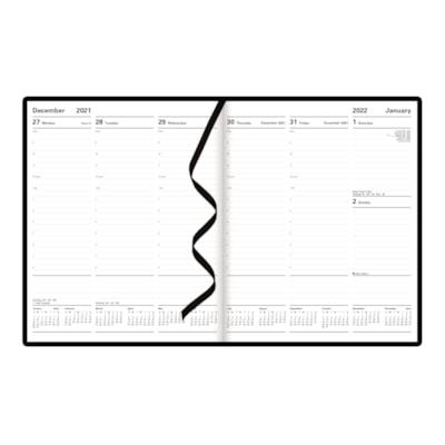 """Letts Principal 12-Month Weekly Planner, Black, 10 1/4"""" x 8 1/4"""", January - December, English X 8-1/4 2PPW HARD COVER BLACK FSC CERTIFIED"""