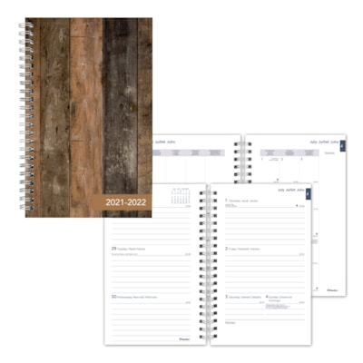 """Blueline 13-Month Academic Weekly/Monthly Planner, Brown Cabin Design, 8"""" x 5"""", July - July, Trilingual 13-MONTH  TRILINGUAL 8 X 5  STARDUST DESIGN"""
