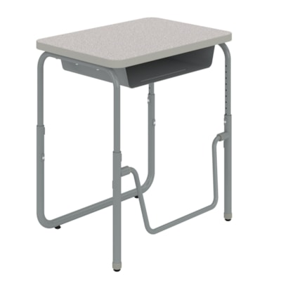 """Safco AlphaBetter® 2.0 Height-Adjustable Student Desk with Book Box and Pendulum Bar, Grey, 27 3/4"""" x 19 3/4"""" x 22""""-30"""" HEIGHT   ADJUSTABLE GREY TOP"""