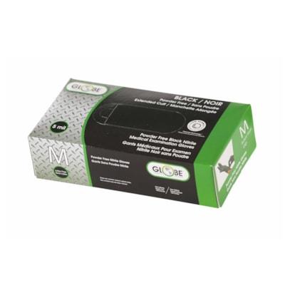 Globe Commercial Products Nitrile Powder-Free Gloves, 5 mil, Medium, Black, Box of 100 POWDER FREE   5 MIL BOX OF 100
