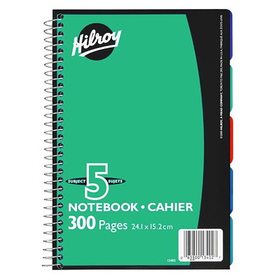 """Hilroy Executive Coil 5-Subject Notebook, Assorted Colours (No Colour Choice On Delivered Orders), 9 1/2"""" x 6"""", 300 pages 5 SUBJECT COLLEGE RULE W/ MAR- GIN WITH THUMB INDEXES"""