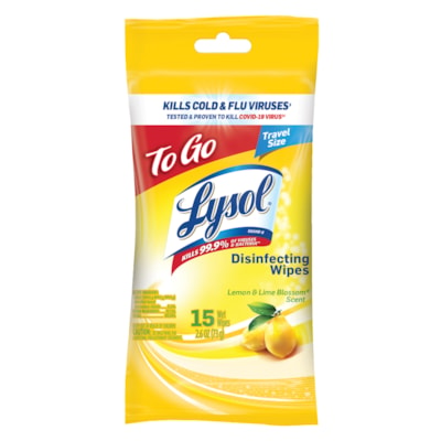 Lysol On-The-Go Disinfectant Wipes, Lemon and Lime Blossom Scent, Pack of 15 wipes CITRUS ON-THE-GO