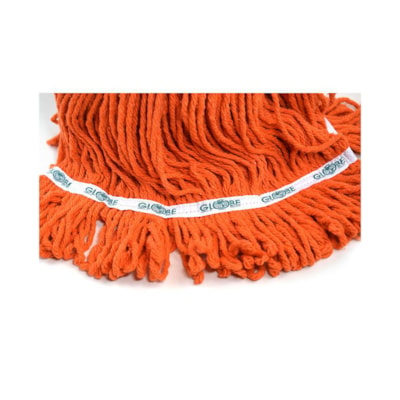 Globe Commercial Products Synthetic Looped End Wet Mop Head With Narrow Band, Orange, 24 oz, Carton of 12 ANTI SHRINK SYNTHETIC YARN CARTON OF 12
