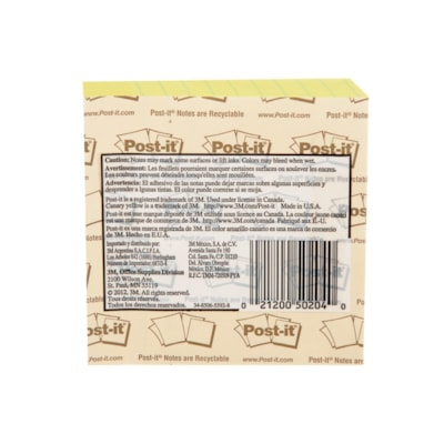 """Post-it Original Lined Notes, Canary Yellow, 3 7/8"""" x 3 7/8"""", Pad of 300 Sheets"""