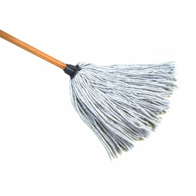 """Globe Commercial Products Synthetic Wire Bound Yacht Mop, 16 oz, With 54"""" Handle 54"""" WOOD HANDLE GREAT FOR GENERAL PURPOSE MOPP"""