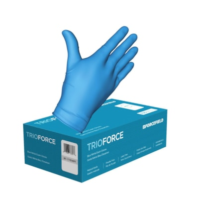 Forcefield TRIOFORCE Nitrile Medical Grade Disposable Gloves, 4 mil, Large, Blue, Carton of 1,000 CLASS 2 MG 1000/CT LATEX FREE  POWDER FREE