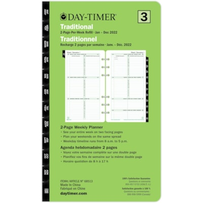 """Day-Timer 12-Month Portable-Size Weekly 2 Pages Per Week Loose-Leaf Planner Refill, 6 3/4"""" x 3 3/4"""", Bilingual 3.75X6.75 BILINGUAL 30% PCW"""