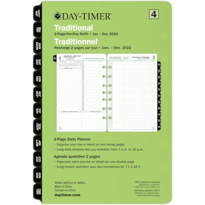 """Day-Timer 12-Month Daily 2 Pages Per Day Desk-Size Loose-Leaf Planner Refill, 8 1/2"""" x 5 1/2"""", Bilingual BILLINGUAL 5.5X8.5 30% PCW"""