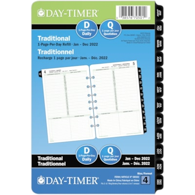 """Day-Timer 12-Month Desk-Size Daily 1 Page Per Day Loose-Leaf Planner Refill, 8 1/2"""" x 5 1/2"""", Bilingual  PPD 5.5X8.5 BILLINGUAL 30% PCW"""