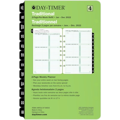 """Day-Timer 12-Month 2 Pages Per Week Desk-Size Loose-Leaf Planner Refill, 8 1/2"""" x 5 1/2"""" 5.5X8.5 30% PCW"""