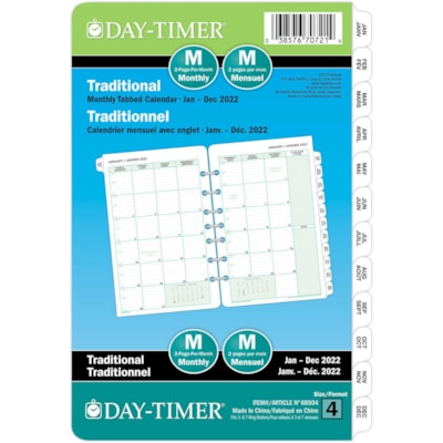 """Day-Timer 12-Month 2 Pages Per Month Desk-Size Loose-Leaf Planner Refill, 8 1/2"""" x 5 1/2"""", Bilingual  5.5X8.5 BILLINGUAL 30% PCW"""