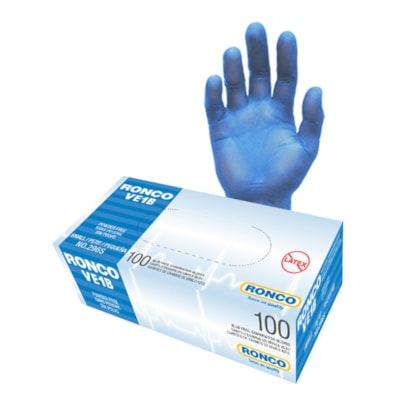 Gant d'examen en vinyle RONCO VE1B, petite, bleu, boîte de 100 BLUE EXAM GLOVES POWDER FREE