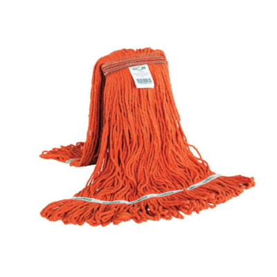 Globe Commercial Products Synthetic Looped End Wet Mop Head With Narrow Band, Orange, 20 oz, Carton of 12 ANTI SHRINK SYNTHETIC YARN TAILBAND AND CHEM RESISTANT