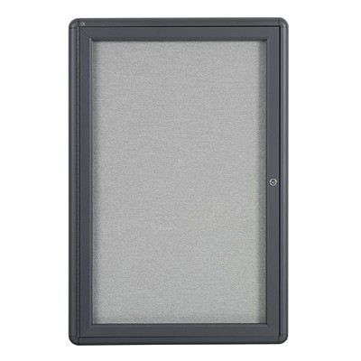 Quartet Radius Fabric Bulletin Board 1DR GREY FABRIC RADIUS CORNER ALUM FRAME QUARTET