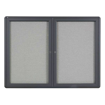 Quartet Radius Fabric Bulletin Board ALUM. FRAME RADIUS CORNERS GREY FABRIC