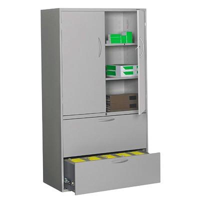"""Grand & Toy Multi-Storage Cabinet, Light Grey, 36"""" x 18"""" x 65 1/4"""" 18 X 36 X 65-1/4 GREY"""