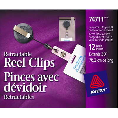 "Avery 30"" Retractable Reel Clips, Black, 12/PK HORIZONTAL   EXTENDS 30"" PKG/12"