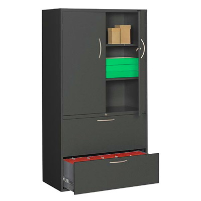 Grand & Toy Multi-Storage Cabinet 18 X 36 X 65-1/4 BLACK