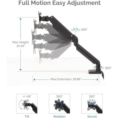 """Fellowes Platinum Series Single Monitor Arm, Black 2 USBPORTS.CLAMP/GROMMET MOUNT HOLDS 30""""/20 LBS MONITOR"""