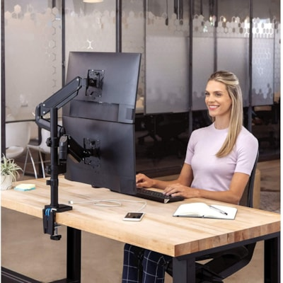 """Fellowes Platinum Series Dual Stacking Monitor Arm, Black 2 USBPORTS.CLAMP/GROMMET MOUNT HOLDS 32""""/17.6BS MONITOR"""