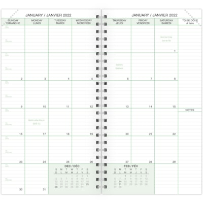 """Day-Timer Daily 2-Pages-Per-Day Planner Refill, 3 1/2"""" x 6 1/2"""", January - December, Bilingual 3-1/2 X 6-1/2 BILINGUAL 30% PCW"""