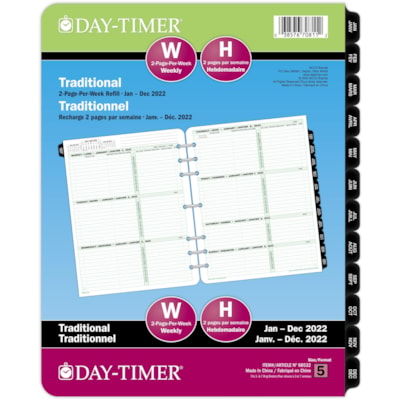 """Day-Timer 12-Month 2-Page-Per-Week Weekly Planner Refill, 8 1/2"""" x 11"""", January - December, Bilingual 8-1/2 X 11 VENDOR ITEM 68532 30% PCW"""