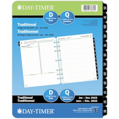 """Day-Timer 12-Month 2-Pages-Per-Day Daily Planner Refill, 8 1/2"""" x 11"""", January - December, Bilingual 8-1/2 X 11 30% PCW"""