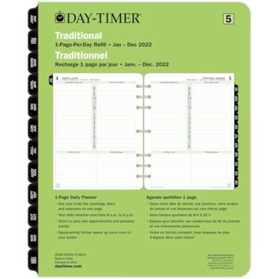 """Day-Timer 12-Month 1-Page-Per-Day Daily Planner Refill, 8 1/2"""" x 11"""", January - December, Bilingual 8-1/2X11 30% PCW"""