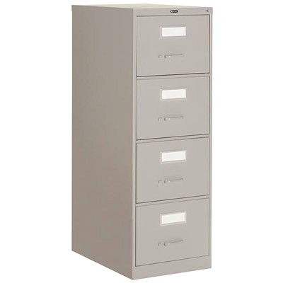 """Global 2600 Series Economy Vertical File, 4-Drawer, Grey, Letter Size 15""""W X 26 9/16""""D X 52""""H ECONOMY"""