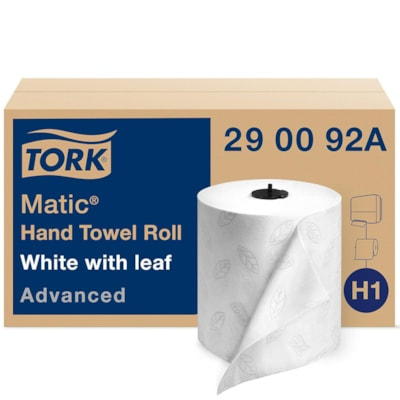 Tork 2-Ply Advanced Matic Hand Paper Towels, White, 525', Carton of 6 ROLL TOWELS  2-PLY WHITE 73/4X525' '