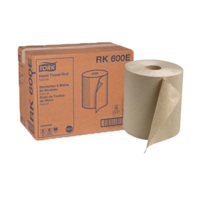 """Tork 1-Ply Universal Hand Paper Towels, Natural, 600', Case of 12 HARD WOUND ROLL TOWEL 1-PLY 7 7/8""""X600' NATURAL"""
