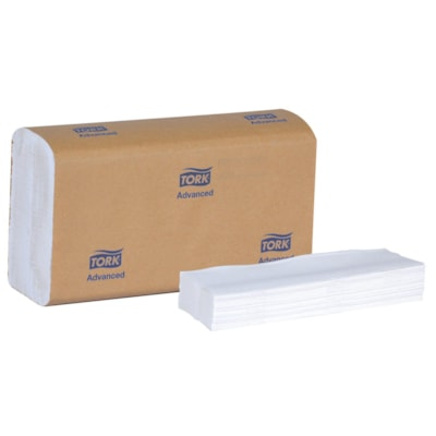 Tork 1-Ply Advanced Multifold Hand Paper Towels, White, Pack of 250 Sheets, Case of 16 Packs HAND TOWEL 1-PLY 9X9.5 WHITE