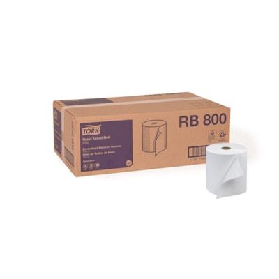 Rouleaux d'essuie-mains 1 épaisseur Avanced Tork, blanc, 800 pi, caisse de 6 E-TOUT HARDWOUND TRK  ADVANCED   7-7/8'' X 800'